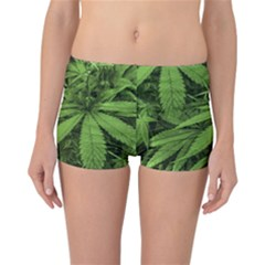 Marijuana Plants Pattern Reversible Boyleg Bikini Bottoms