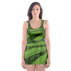 Marijuana Plants Pattern Skater Dress Swimsuit