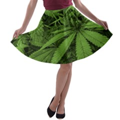 Marijuana Plants Pattern A Line Skater Skirt