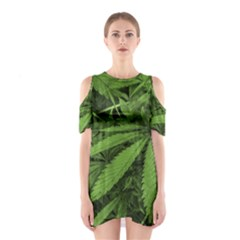 Marijuana Plants Pattern Shoulder Cutout One Piece