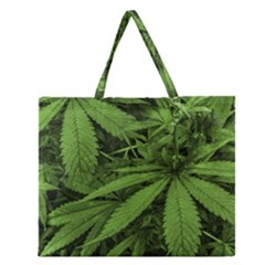 Marijuana Plants Pattern Zipper Large Tote Bag