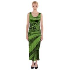 Marijuana Plants Pattern Fitted Maxi Dress