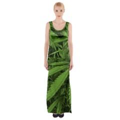 Marijuana Plants Pattern Maxi Thigh Split Dress