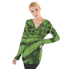 Marijuana Plants Pattern Tie Up Tee