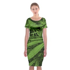 Marijuana Plants Pattern Classic Short Sleeve Midi Dress