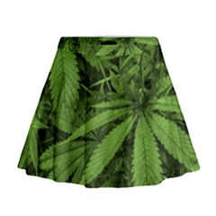 Marijuana Plants Pattern Mini Flare Skirt