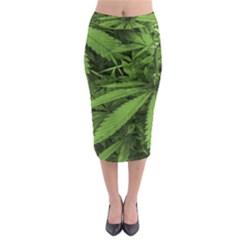 Marijuana Plants Pattern Midi Pencil Skirt