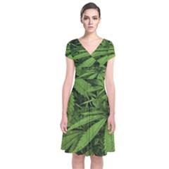 Marijuana Plants Pattern Short Sleeve Front Wrap Dress