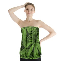 Marijuana Plants Pattern Strapless Top