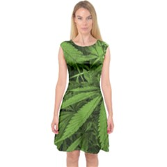Marijuana Plants Pattern Capsleeve Midi Dress