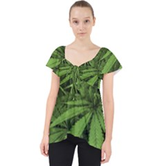 Marijuana Plants Pattern Lace Front Dolly Top