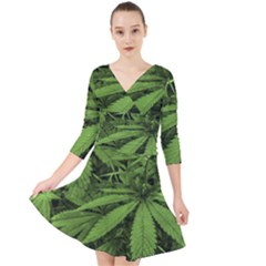 Marijuana Plants Pattern Quarter Sleeve Front Wrap Dress