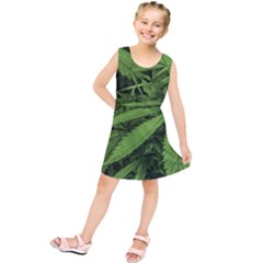 Marijuana Plants Pattern Kids  Tunic Dress