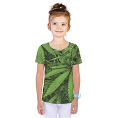 Marijuana Plants Pattern Kids  One Piece Tee