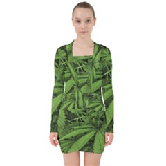Marijuana Plants Pattern V Neck Bodycon Long Sleeve Dress