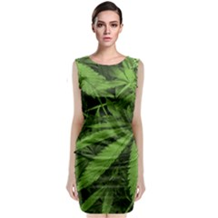 Marijuana Plants Pattern Sleeveless Velvet Midi Dress
