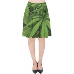 Marijuana Plants Pattern Velvet High Waist Skirt