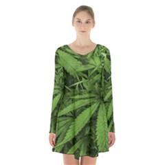 Marijuana Plants Pattern Long Sleeve Velvet V Neck Dress