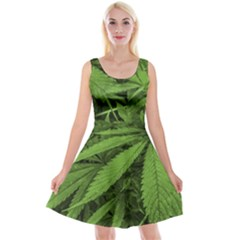 Marijuana Plants Pattern Reversible Velvet Sleeveless Dress