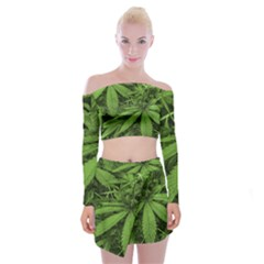 Marijuana Plants Pattern Off Shoulder Top With Mini Skirt Set