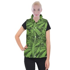 Marijuana Plants Pattern Women s Button Up Puffer Vest