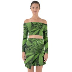 Marijuana Plants Pattern Off Shoulder Top With Skirt Set