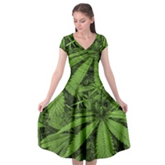 Marijuana Plants Pattern Cap Sleeve Wrap Front Dress