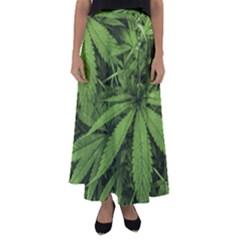 Marijuana Plants Pattern Flared Maxi Skirt