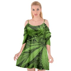 Marijuana Plants Pattern Cutout Spaghetti Strap Chiffon Dress