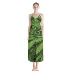 Marijuana Plants Pattern Button Up Chiffon Maxi Dress