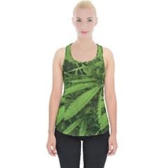 Marijuana Plants Pattern Piece Up Tank Top