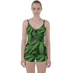 Marijuana Plants Pattern Tie Front Two Piece Tankini