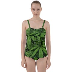 Marijuana Plants Pattern Twist Front Tankini Set