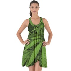 Marijuana Plants Pattern Show Some Back Chiffon Dress