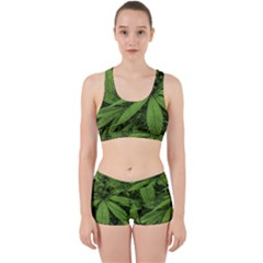 Marijuana Plants Pattern Work It Out Sports Bra Set