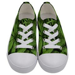 Marijuana Plants Pattern Kids  Low Top Canvas Sneakers