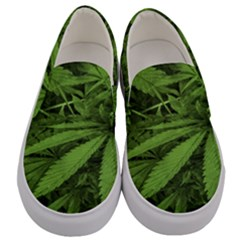 Marijuana Plants Pattern Men s Canvas Slip Ons