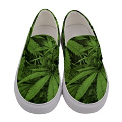 Marijuana Plants Pattern Women s Canvas Slip Ons
