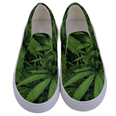 Marijuana Plants Pattern Kids  Canvas Slip Ons