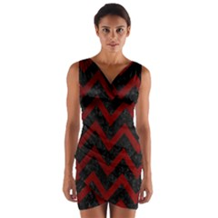 Chevron9 Black Marble & Red Grunge (r) Wrap Front Bodycon Dress