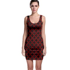 Circles3 Black Marble & Red Grunge (r) Bodycon Dress