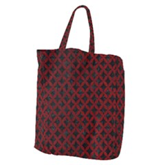 Circles3 Black Marble & Red Grunge (r) Giant Grocery Zipper Tote