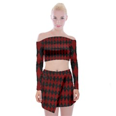 Diamond1 Black Marble & Red Grunge Off Shoulder Top With Mini Skirt Set