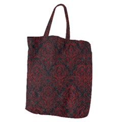 Damask1 Black Marble & Red Grunge (r) Giant Grocery Zipper Tote
