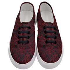 Damask1 Black Marble & Red Grunge (r) Women s Classic Low Top Sneakers