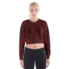 Damask2 Black Marble & Red Grunge Cropped Sweatshirt