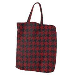 Houndstooth1 Black Marble & Red Grunge Giant Grocery Zipper Tote