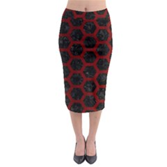 Hexagon2 Black Marble & Red Grunge (r) Midi Pencil Skirt