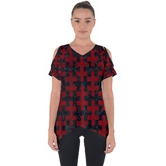 Puzzle1 Black Marble & Red Grunge Cut Out Side Drop Tee