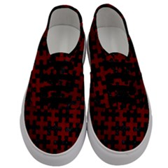 Puzzle1 Black Marble & Red Grunge Men s Classic Low Top Sneakers